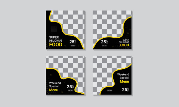 Restaurant social media square banner design template. Social media poster layout design with geometric abstract shapes, Promotional web banner post template.