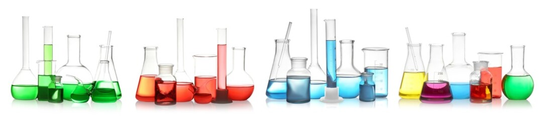 Fototapete - Set of laboratory glassware with colorful liquids on white background. Banner design