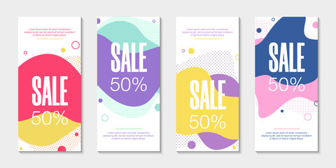 Set of 4 abstract modern graphic liquid banners. Dynamical waves different colored fluid forms. Isolated templates with flowing liquid shapes. For the special offer, flyer or presentation.