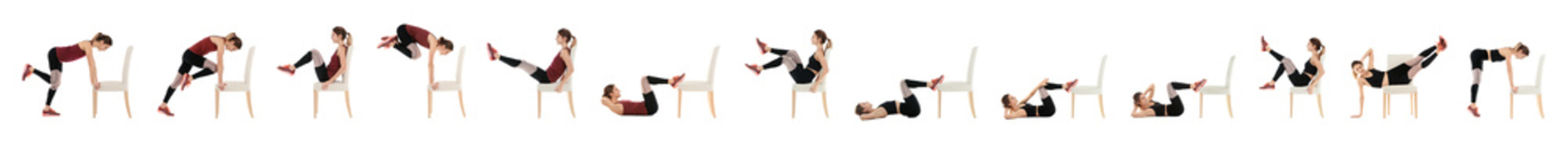 Collage of young woman exercising with chair on white background. Banner design Fotomurales