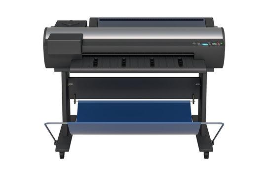 Wide Format Printer, front view. 3D rendering