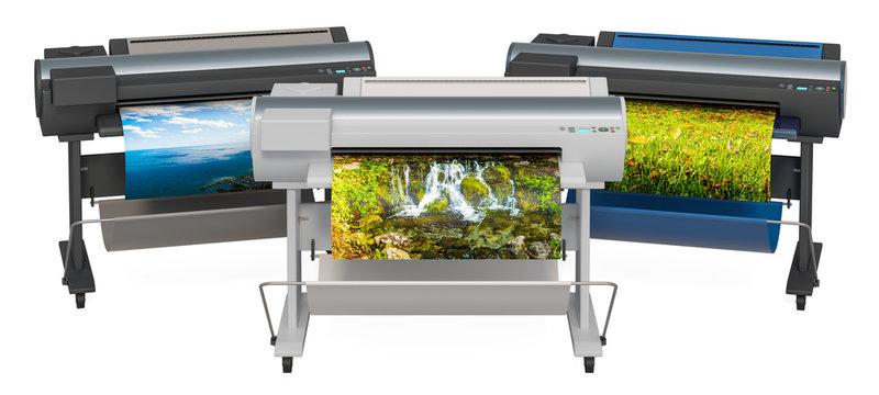 Wide Format Printers, Plotters. 3D rendering