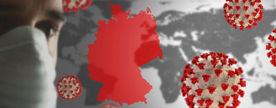 Germany outline red over world map and man 30 years with mask over nose and mouth. 3d-illustration. elements of this image furnished by NASA