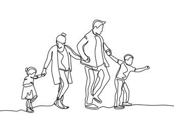 Continuous line drawing of family members. Father, mother, daughter, and son holding hands together.