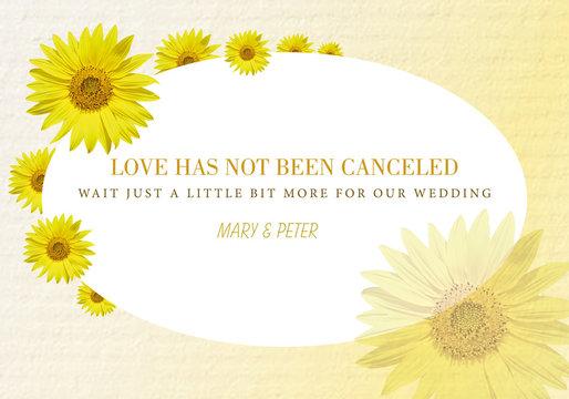 Wedding postponement card: love has not been canceled