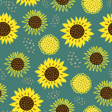 Seamless pattern with sun flowers. Cute hand drawn cartoon childish drawing style. Colorful background with ink texture vector illustration, good for fashion textile print.