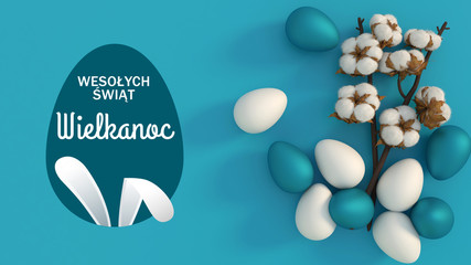 Obraz Wesołych Świąt Wielkanocnych. Jajka w modnym kolorze klasycznym niebieskim i białym. Minimalistyczny styl. Najlepszy wygląd - fototapety do salonu