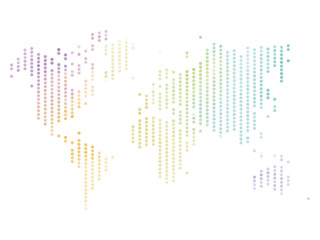 Wall Mural - Dotted map of World. Colorful halftone design. Simple flat vector illustration