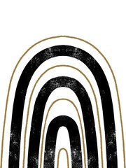Modern art with black and gold geometric lines rainbow. Trendy hand drawn illustration. Styled design for home decor.