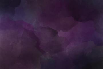 dark purple watercolor background. Gloomy colorful background, purple clouds.