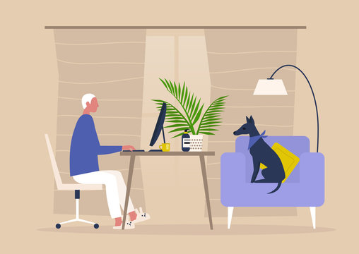 Young male character working from home, self isolation, workspace in the living room