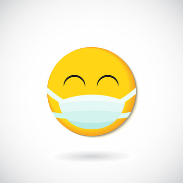 Emoji with mouth mask - yellow face with closed eyes wearing a white surgical mask
