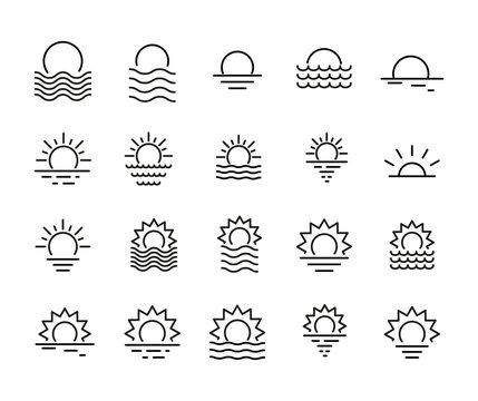 Icon set of sunset.