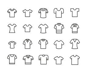 Simple set of t-shirt icons in trendy line style