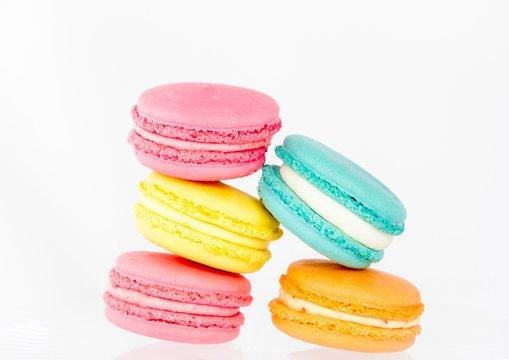 Colorful Macroons Against White Background