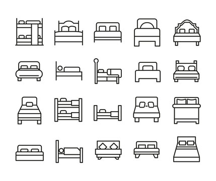 Big set of bed line icons.