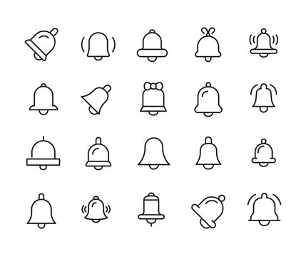 Simple set of bell icons in trendy line style.