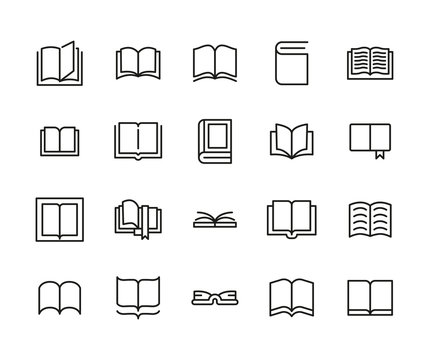 Simple set of book icons in trendy line style.