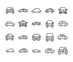 Car line icons set.