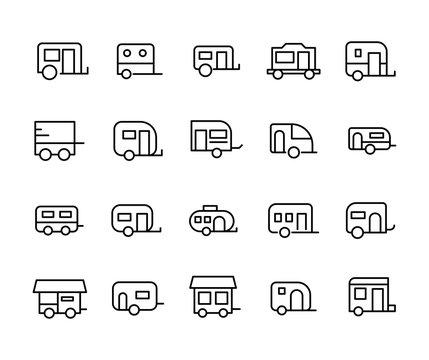 Simple set of caravan icons in trendy line style.