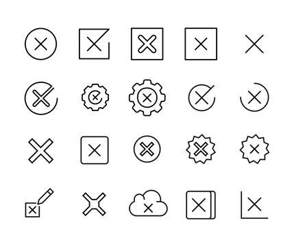 Stroke line icons set of cross.