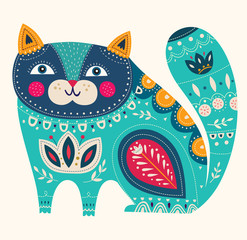 Fototapete - Cute spring illustration with decorative blue cat.