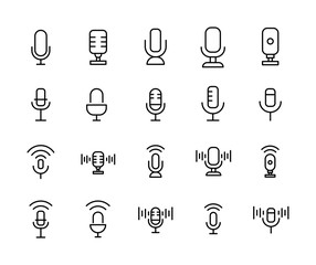 Stroke line icons set of microphone. S