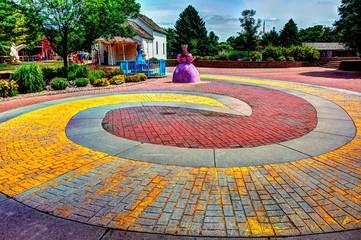 Aberdeen, South Dakota, USA - 7/2018: Storybook Land, Yellow Brick Road