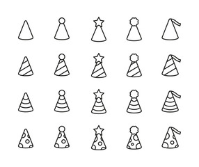 Simple set of party hat icons in trendy line style.