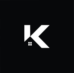 Logo design of K in vector for construction, home, real estate, building, property. Minimal awesome trendy professional logo design template on black background.