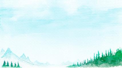 Fototapeten Licht blau 山 森林 山岳 景色 風景 背景 水彩 イラスト