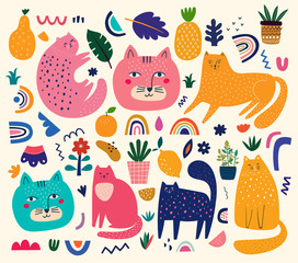 Fototapete - Cute spring collection with cats. Decorative abstract horizontal banner with colorful cats. Hand-drawn modern illustrations with cats and flowers