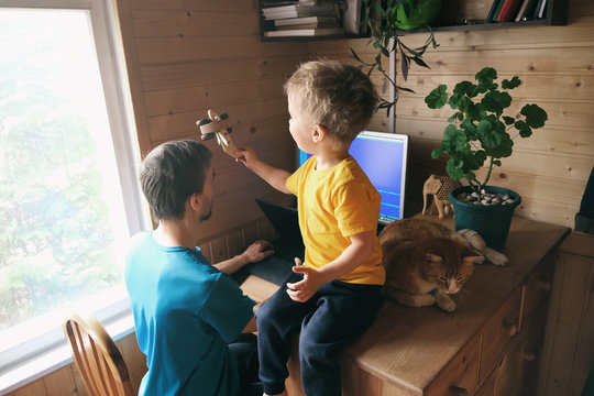 father freelancer try work from home, son child with cat sits and plays near, lifestyle workspace workplace
