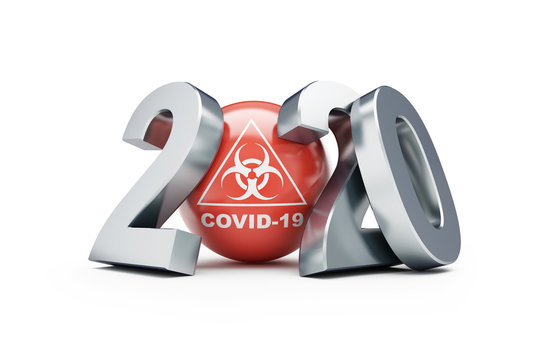 Covid-19 2020  on a white background 3D illustration, 3D rendering