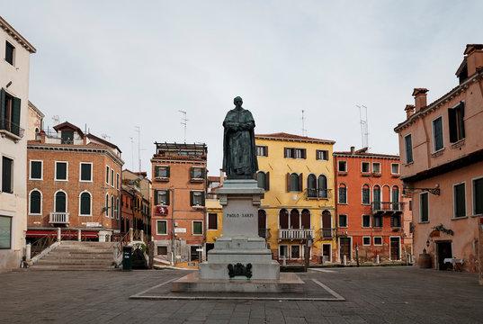 Venice/Italy - September 20, 2020: Statue of Paolo Sarpi, Venetian statesman of 16th and 17th century, Campo Santa Fosca