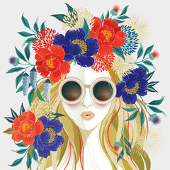 Wall Mural - Vector illustration of a long-haired girl with floral headdress. Design for picture frame, poster, greeting card, and invitation