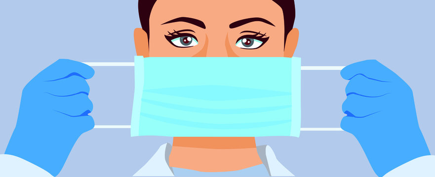 Coronavirus infection prevent. Medical mask. Doctor in hospital protect. How to put mask on face.