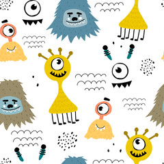 seamless pattern with cartoon monsters, decor elements. Colorful vector flat style for kids. hand drawing. baby design for fabric, print, wrapper, textile