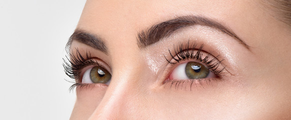 Obraz Closeup shot of woman eye with day makeup. Long eyelashes - fototapety do salonu