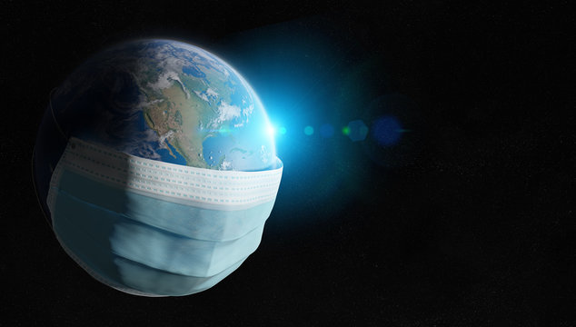 The world covered by a surgical mask from the Coronavirus pandemic. Covid-19 spreading in The Untited States. 2019-ncov infecting the planet Earth 3D rendering