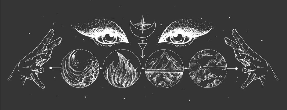 Modern magic witchcraft card with solar system, four elements and fortune teller eyes. Hand drawing occult illustration of water, earth, fire, air