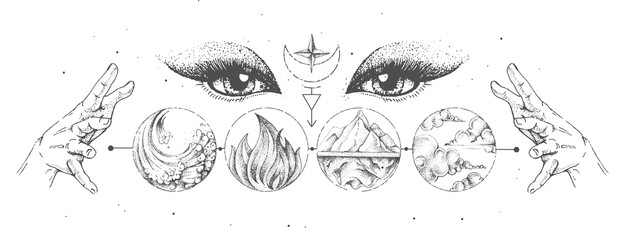 Fototapeta Modern magic witchcraft card with solar system, four elements and fortune teller eyes. Hand drawing occult illustration of water, earth, fire, air