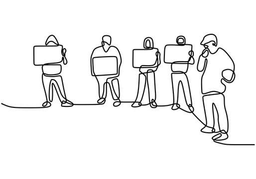 Continuous line drawing people holding a protest sign. People's aspirations. Protest or revolution concept. Vector illustration