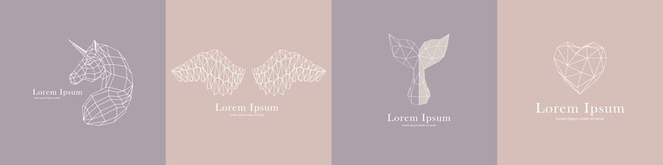 Vector linear animal logos on a gentle background. Set of geometric illustrations in origami style. The image consists of triangles and rhombuses.