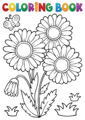 Wall Murals For Kids Coloring book daisy flower image 2
