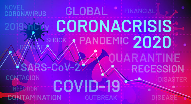 Crisis recession due to viral concept. Coronavirus crisis of 2020. Coronacrisis. Covid-19 pandemic is affecting the global economy. Corona virus weakens economy