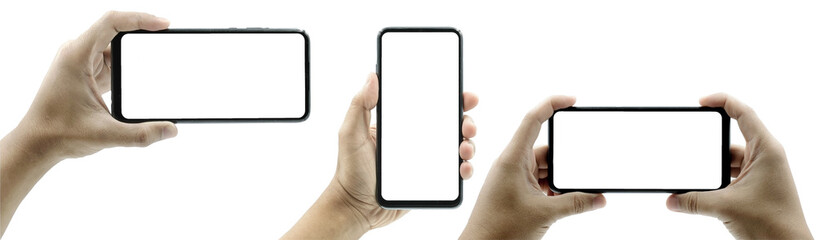 Set of female hand holding the black smartphone iphone with blank screen and modern frameless design in two rotated perspective positions - isolated on white background - Clipping Path.