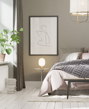 3d rendering of a grey and pink Scandinavian bedroom with rattan stool, ceiling lamp, a monstera plant and a big art frame