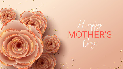Happy Mother's Day horizontal banner template. Holiday greeting card with realistic 3d gentle flowers with golden sand. Vector illustration with pink paper roses and gold confetti. Fotomurales