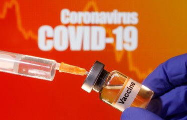 "A small bottle labeled with a ""Vaccine"" sticker is held near a medical syringe in front of displayed ""Coronavirus COVID-19"" words in this illustration"